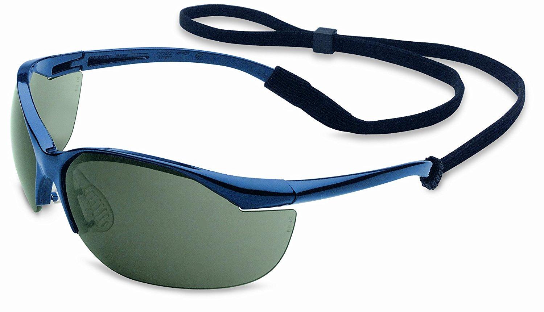 Honeywell RWS-51005 Vapor Safety Eyewear with Contoured Fit Design, Sporty Metallic Blue Frame, Gray Lens, Anti-Fog Lens Coating