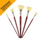 art supplies 5 pc Fan shape bristle oil painting brush red wooden handle brush