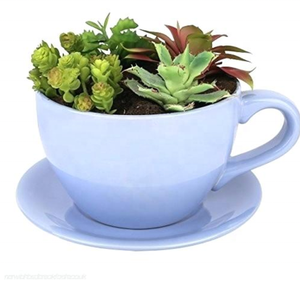 Italain purple glazed indoor mini fine ceramic cup shaped flower pot for desktop