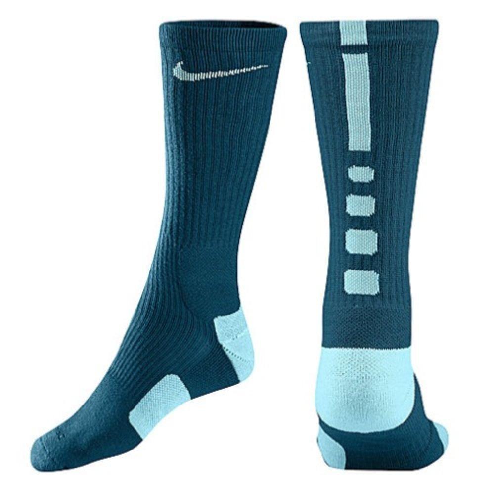 0650759393aa Nike Men s Elite Cushioned Basketball Socks Medium (6-8) Green Abyss Light  Blue