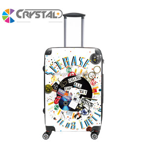 Customized Design print Hardshell 4 wheels abs pc luggage bag 3pcs set abs pc trolley luggage