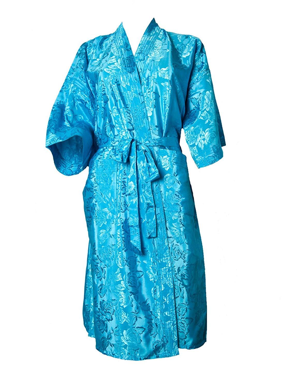 Artiwa SALE 70% OFF Unisex Lightweight Silk Kimono Bathrobe for Women   Men  Rose Light Blue 0f739e9a7