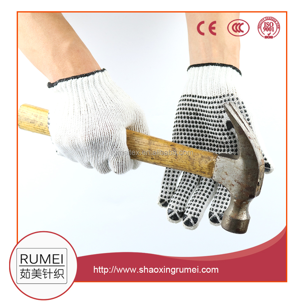 Rumei 10 Gauge cotton knitted beached white pvc dotted safety work glove