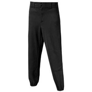 Youth Pull-Up Baseball/Softball Pants - Elastic Waistband with Drawstring, Double Knees, Medium Weight Pant (Black, Youth Large (27-29))
