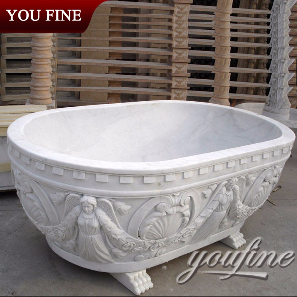 White Hand Carved Marble Bath
