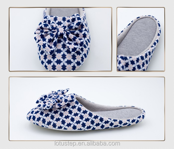 Fancy Washable Bedroom Cotton Slipper With Big Bow Buy Cotton Slippers Bedroom Cotton Slippers