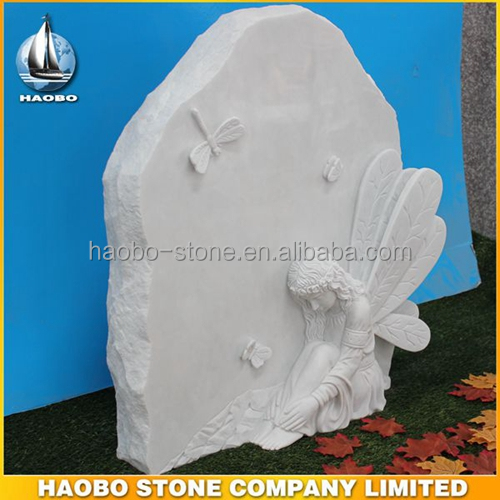 Haobo White Marble Weeping Angel Tombstone for Memorial