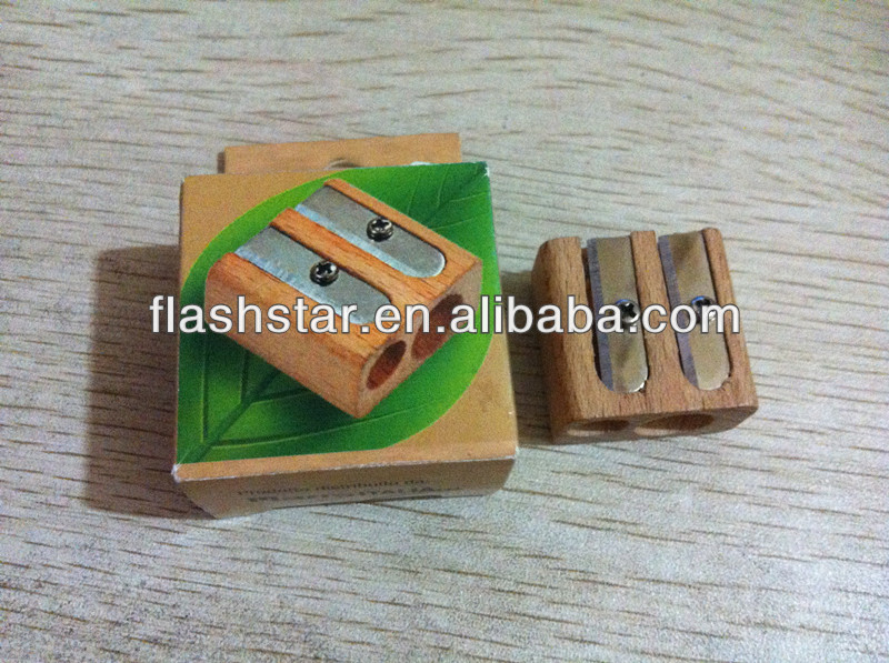 hot selling two holes mini wooden pencial sharpner