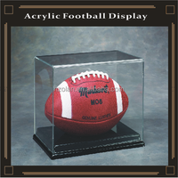 Full Size Football Acrylic Display Case with Black Vacuum Formed Base