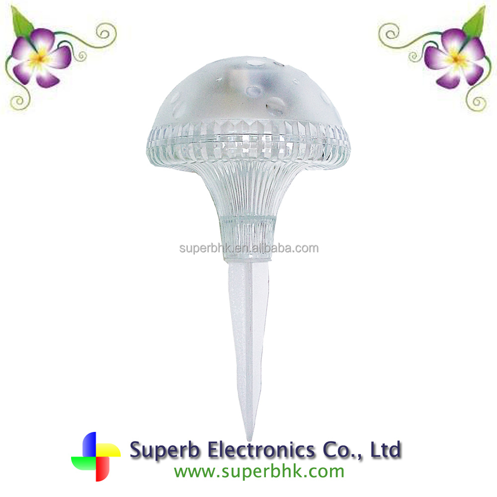 White Plastic Mushroom Shaped Solar Lawn Light For Garden Decoration