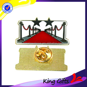 Custom factory price plated gold red carpet affair souvenir lapel pin badge with butterfly clutch