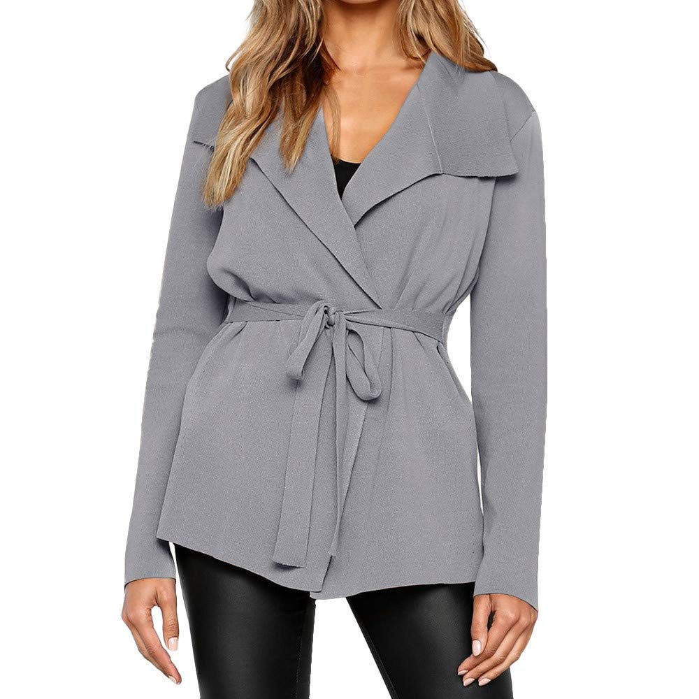 Cardigan Sweaters,POTO Women's Open Front Long Sleeve Waterfall Collar Trench Coat Cardigan with Belt Sweater Outwear