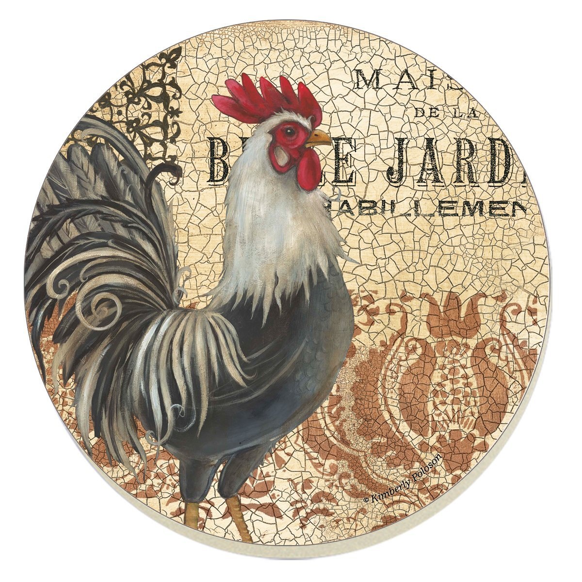 "CounterArt Absorbent Coasters, ""Maison Rooster"", Set of 4"
