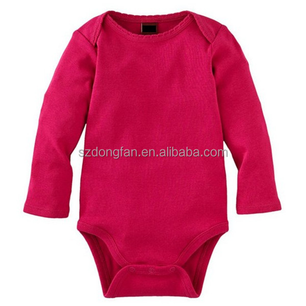 China supplier long sleeve plain red color baby rompers
