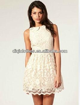 Elegan Cantik Renda Tanpa Lengan Gaun Pendek Dengan Kerah Gaun Pesta