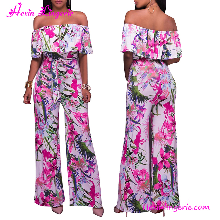 Rose red floral off shoulder woman sexy jumpsuit adult romper pattern