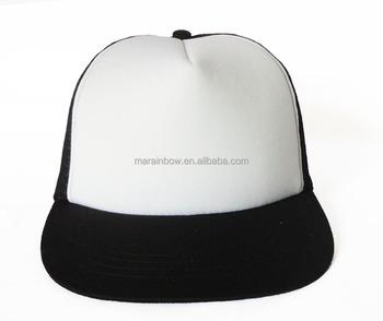 fa09a6f4ab8 New Vintage 2 Tone Foam Trucker Hat Cap Solid Black Mesh Cap White Plain  Cotton Foam