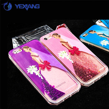 yexiang shinning bling glitter moving liquid case for iphone 6 cute