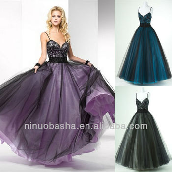 Black Lace Ball Gown Spaghetti Strap Brush Train Prom Dress