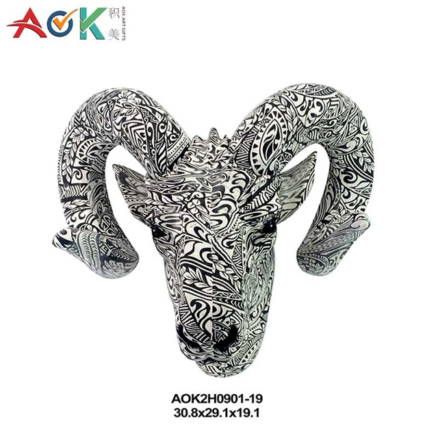 Artificial Home Decor Goat Head Statue Animal Head Wall Hanging