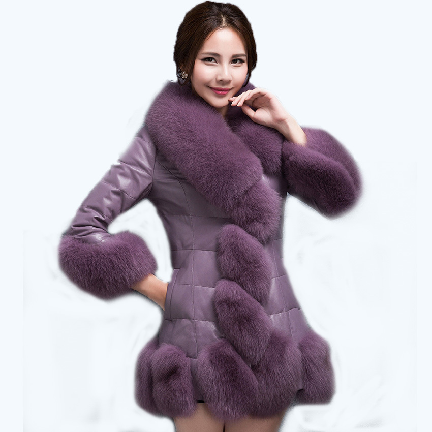 2015 Free Shipping Fur Coat New Fashion High-end Luxury Solid Color PU Leather Warm Thicken Women Fur Coat 200