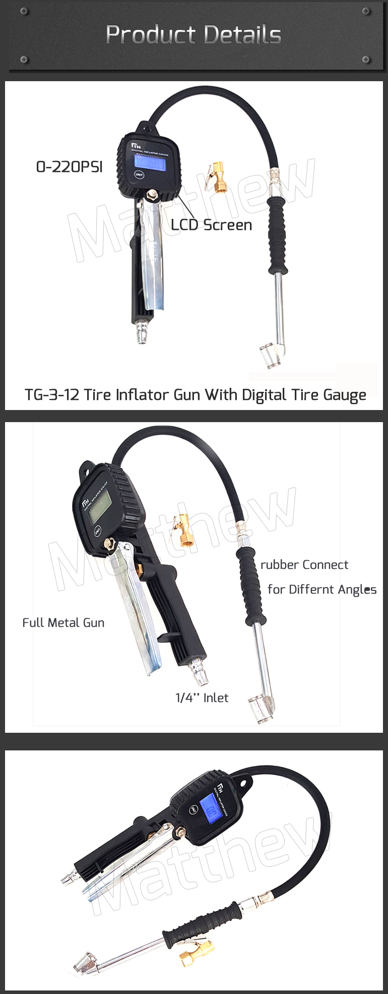 Tire Inflator Gun with Digital Tire Gauge