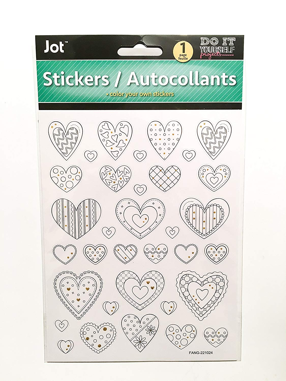 Get quotations · color your own stickers heart stickers do it yourself stickers hearts stickers