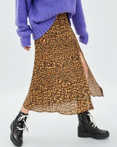 Hot Sale New Style Side Split Leopard Print Long Skirt Women