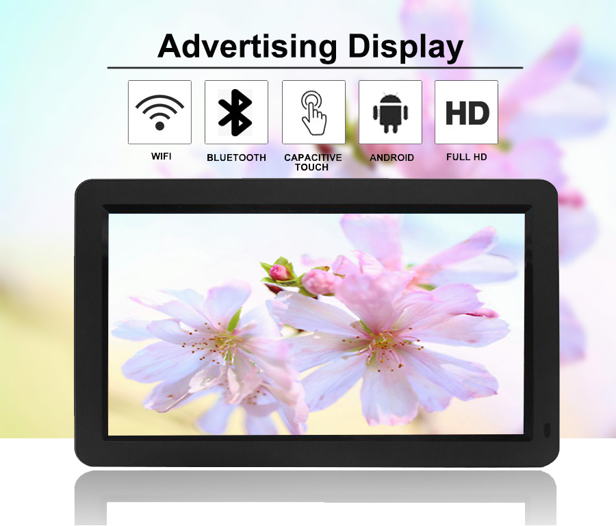 """WiFi and SD card 12v dc input capacitive touch screen 15.6"""" hdmi lcd monitor usb media player for advertising"""