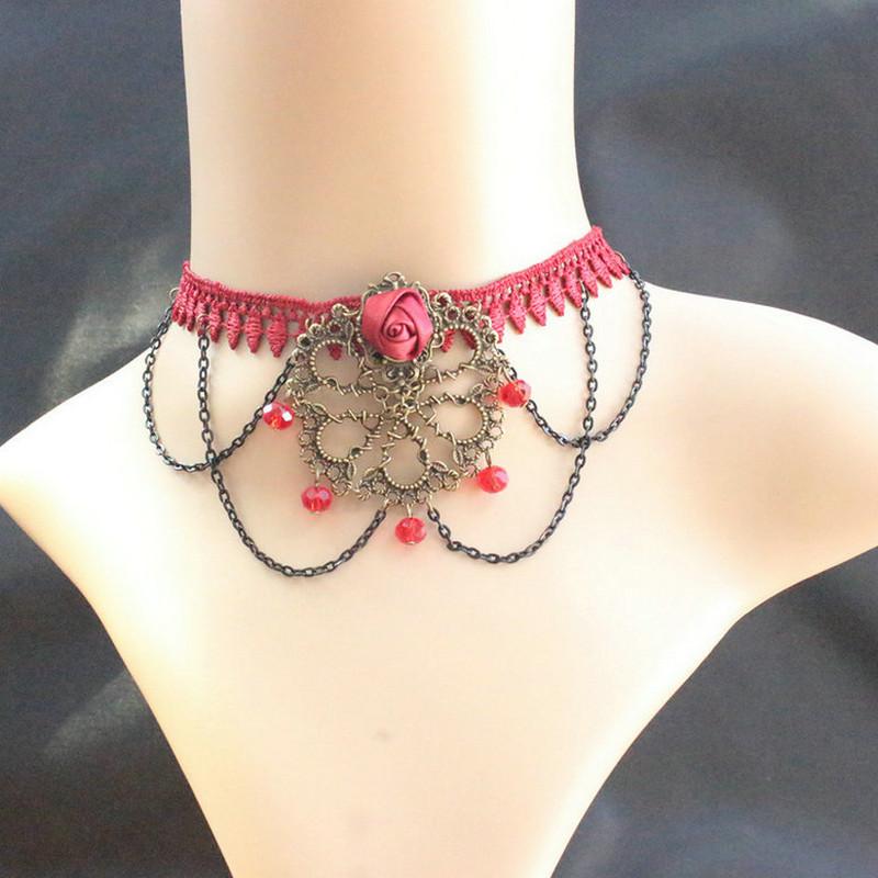 Бесплатная доставка ретро женщины ювелирные изделия ручной готические красная роза кружева с коротким колье вампир стиль бал-маскарад ожерелье