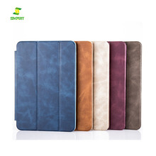 luxury Hot sale PU Leather Stand Book Shell back Case Cover Brown flip for ipad Air 2