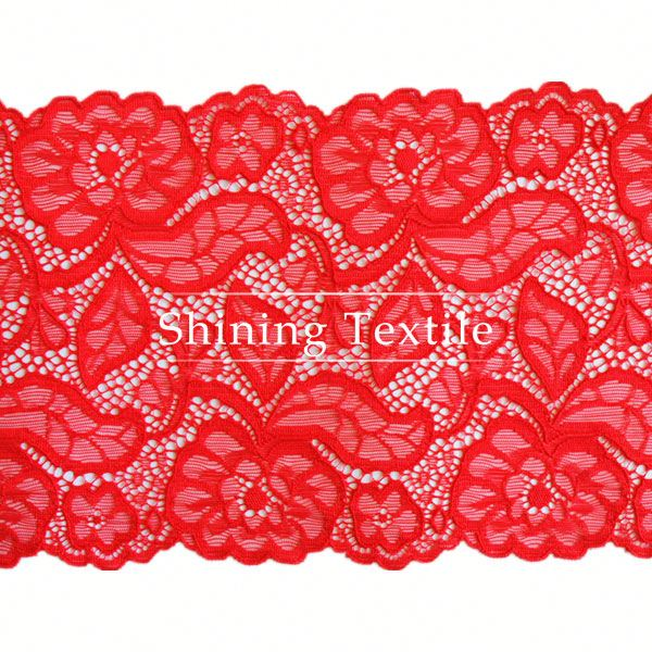 Two Tones Elastic Nylon Spandex Long Lace Table Cloth For Lingerie