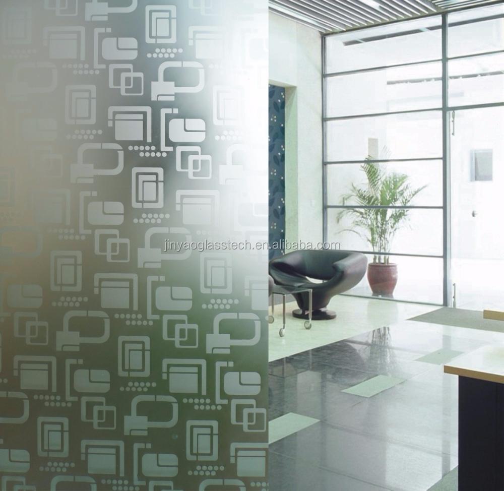 Jinyao 4-6mm zuur geëtst glas voor woonkamer schuifdeur/decoratie ...
