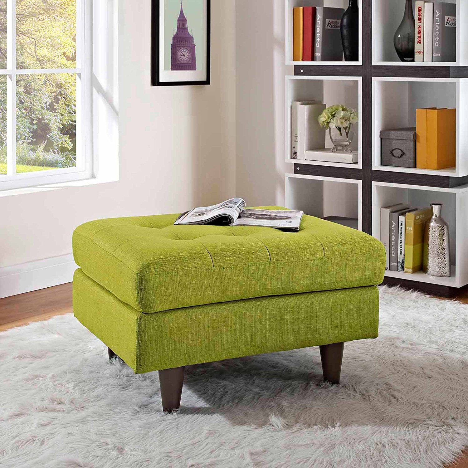 Upholstered Ottoman, Mid-century Style Ottoman, Solid Wood Legs, Foam Padding, Fabric Upholstery, Wheatgrass Finish, Spot Clean Surface, Bundle with Expert Guide for Better Life