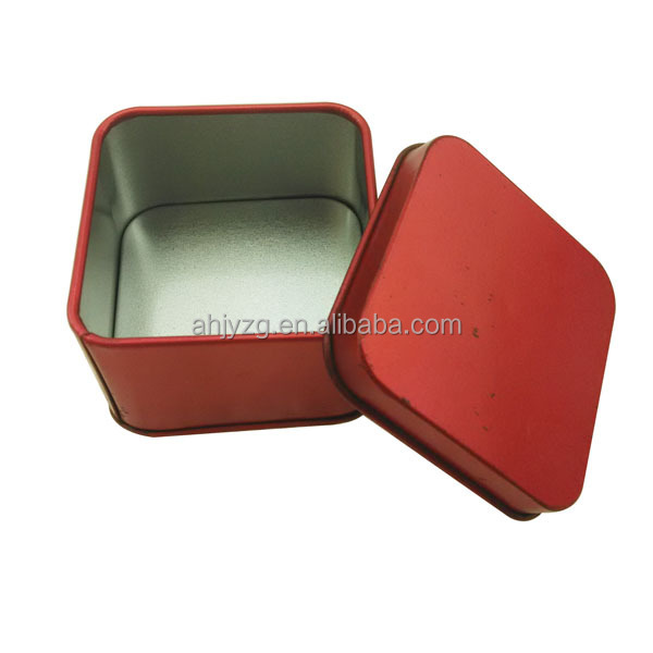 mini square shaped food grade metal candy packaging tin box