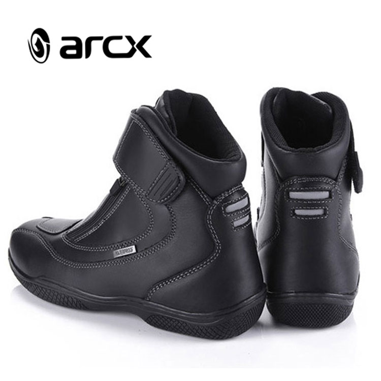 ARCX Cow Leather Motorcycle Shoes for Men Motorcycle Boots Waterproof, Black