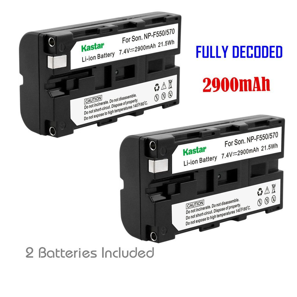 Kastar NP-F570 Battery (2-Pack) for NP-F570, NP-F550, NP-F530, NP-F330 work with Sony CCD-RV100, CCD-RV200, CCD-SC5, CCD-SC6, CCD-SC55, CCD-SC65, CCD-TRV66, CCD-TRV67, DCM-M1, DCR-SC100, DCR-TR7, DSC-CD250, DSC-CD400, DSC-D700, DSC-D770, D-V500, EVO-250, GV-A100, GV-A500, HDR-AX2000, HDR-FX7,