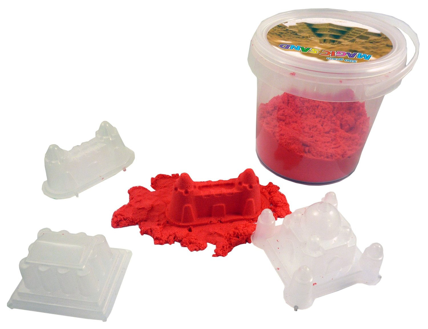 RED Magic Sand 500g With 3 Castle Moulds- Sculpture, Mould and Play [Toy]