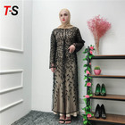 Hot sale Gold printing dressing female islamic clothing lace muslim dress abaya