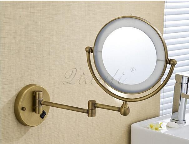 Bronze Wall Mirror: Bath Mirror Bronze Wall Mounted 8 Inch Brass 3X/1X