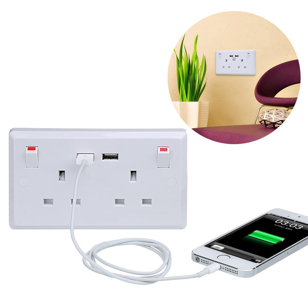 13A Double USB Wall Switch Socket UK Type