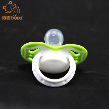 China baby products manufacturer baby silicone pacifier nipple 6+ Months big nipple pacifier