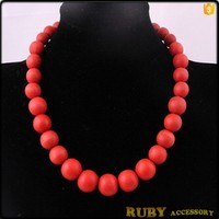 Unique red wooden beaded statement necklace crochet women jewelry