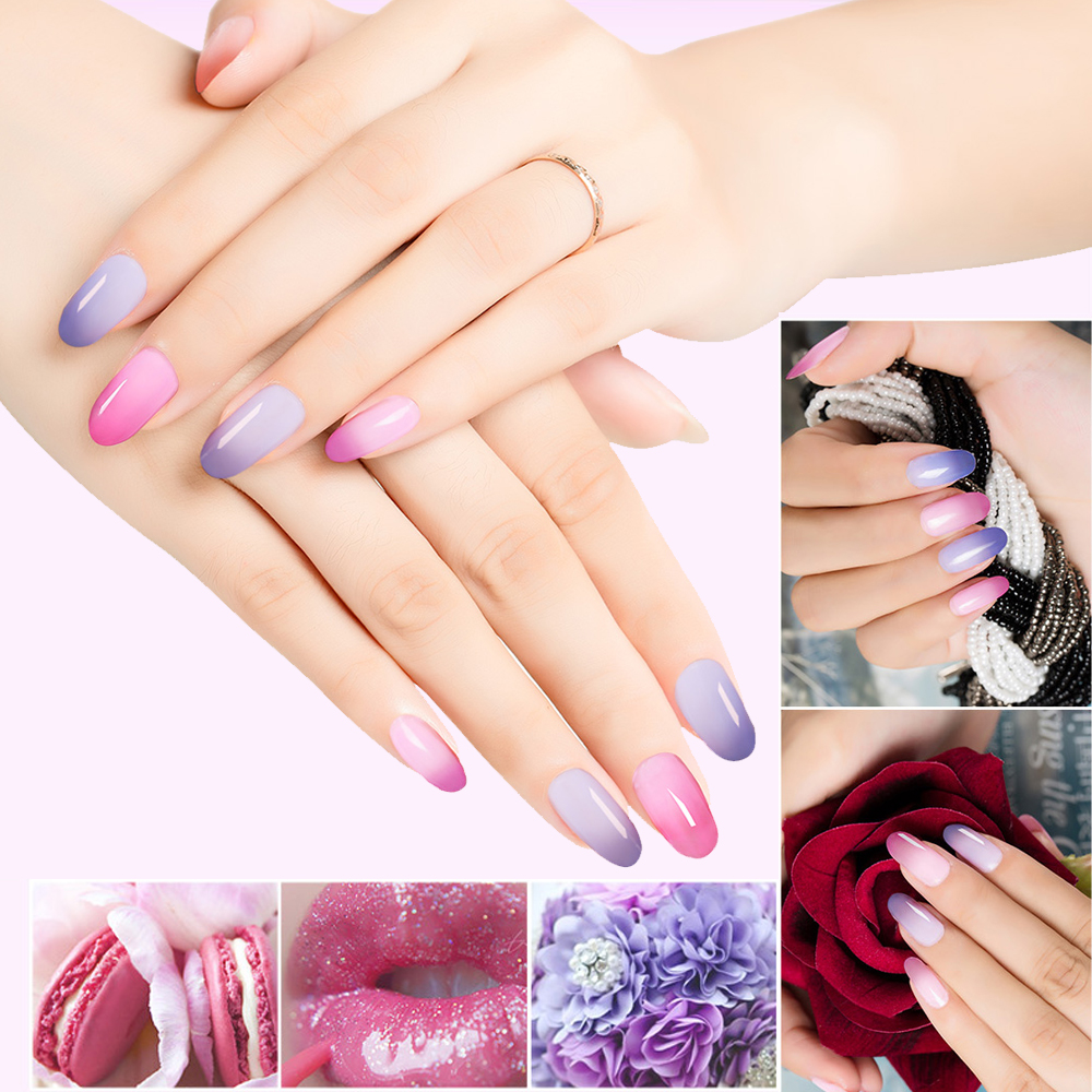 Soak off Manicure changed colors with the temperature nail polish