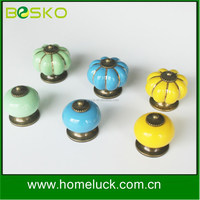 High quality colored kitchen cabinet pumpkin ceramic knobs