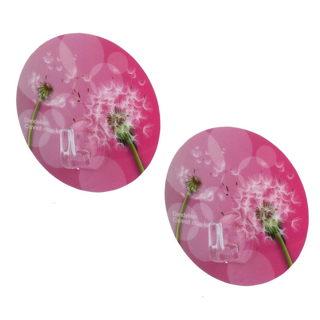 uxcell Dandelion Pattern PVC Bathroom Round Shape No Scratch Grass Wall Hanging Seamless Adhesive Hook 2pcs Fuchsia