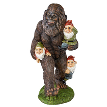Bigfoot Carry The Garden Gnomes Hand Made Resin Statue Full Color Realistic