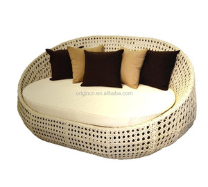 Oval airy balcony sunbathing lazy day bed outdoor rattan leisure used sun loungers beach