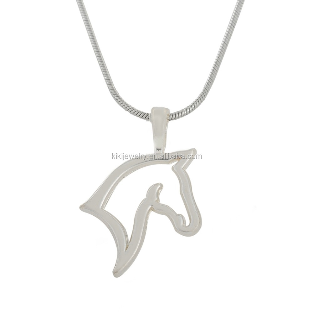 Simple Design Zinc Alloy Rhodium Plated Horse Head Pendant Necklace фото