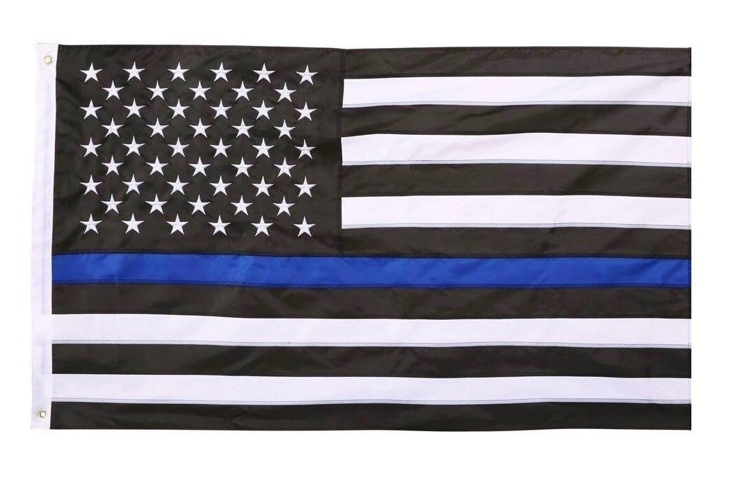 Thin Blue Line USA American Flag for Police and Law Enforcement 3x5 Feet Printed Flag with Grommets by TrendyLuz Flags